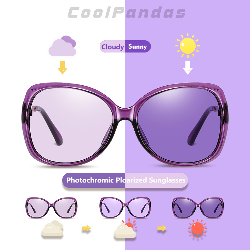 Übergroßen Pilot Photochrome Sonnenbrille Für Frauen 2020 Vintage Marke Fahren Lila Sonnenbrille damen lunette de soleil femme