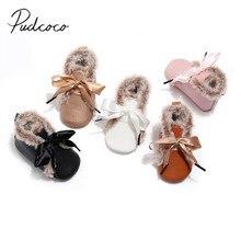 Детские первые ходунки для 0-24 м Детские бандажные туфли для мальчиков и девочек пушистые зимние теплые полиуретановые однотонные Нескользящие туфли с мягкой подошвой