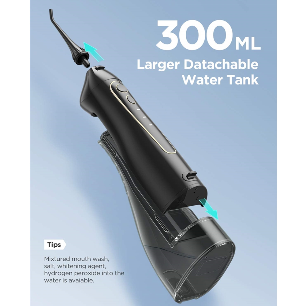 Ирригатор для полости рта Fairywill 300 мл с функциями подача струи, резервуар для воды, 3 режима, заряжаемый, портативный, водонепроницаемый 4
