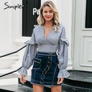 Image 2 - Simplee Patchwork a ligne bouton femmes jean jupe taille haute poche femme mini jupes décontracté streetwear dames jupe courte 2019