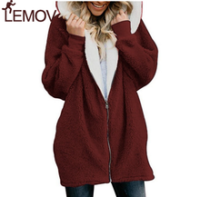 New Women Hoodies Zipper Girl Winter Loose Fluffy Hoodie Hooded Jacket Long  Warm Outerwear Coat Cute Sweatshirt Zip-up 5xl все цены