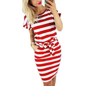 Image 5 - 2019 Women Casual Striped short sleeve women Shirt Dress Red Grey Tee Shirt Dress Streetwear Summer Dress