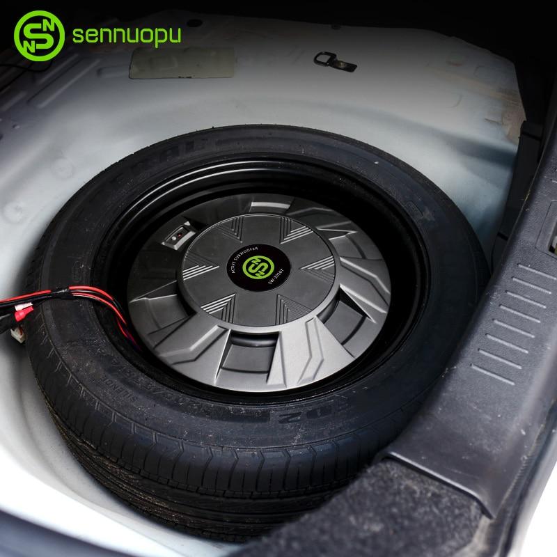 Sennuopu Mobil Subwoofer Aluminium Kotak Logam Ban Cadangan Subwoofer Built-In Amplifier 500W Mobil Subwoofer Audio Meningkatkan mobil