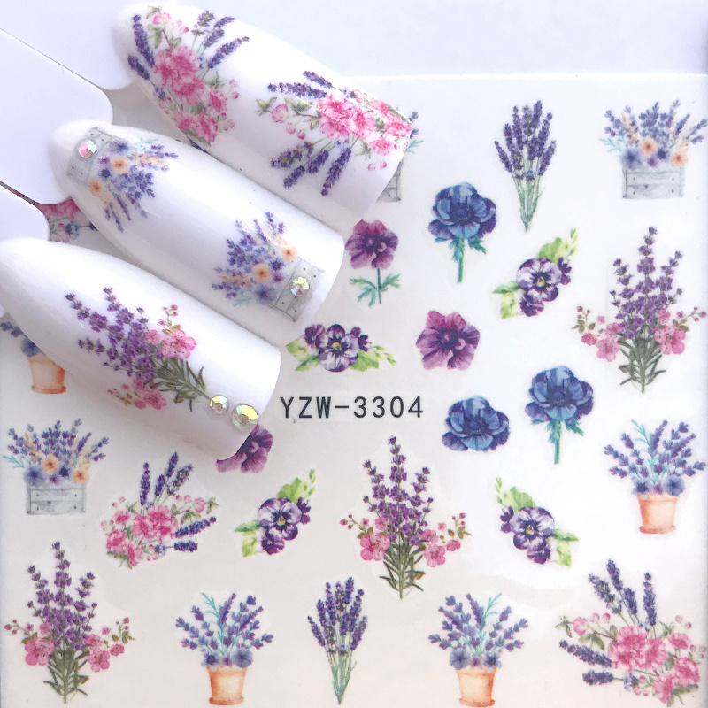 1pcs Watercolor Floral Flower Sticker Nail Decal Set Flamingo Merry Christmas Design Gel Manicure Decor Water Slider Foil