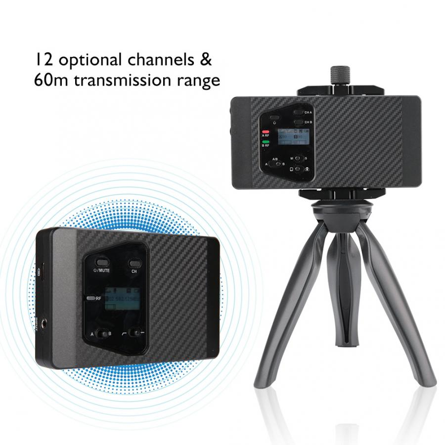 New COMICA CVM WS60 UHF Wireless Clip on DSLR Microphone Transmitter Receiver Kit Microphone in Microphones from Consumer Electronics