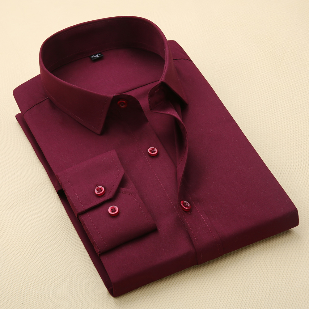 2020 New Men's Cultivate One's Morality Business Youth Long Sleeve Shirt And Groom Wedding Dress Wine Red No-iron Shirt Pocket