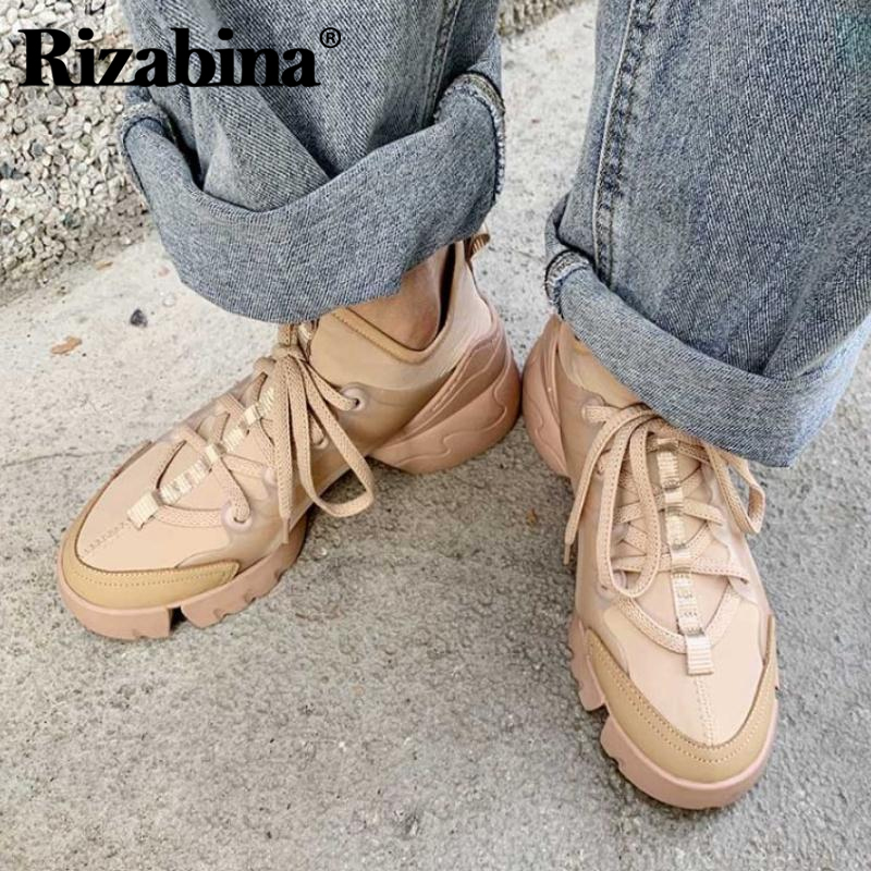 RIZABINA Women Sneakers Lace Up Casual Outdoor Flats Shoes Women Brand New Fashion High Quality Player Footwear Size 34-40