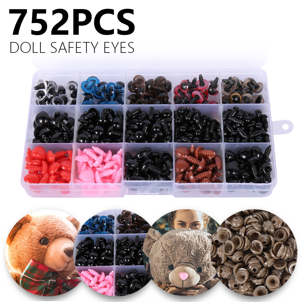 752PCS/Pack Dolls Plastic Safety Eyes Triangle Noses For Teddy Bear Toys Kids Buttons Dolls Eyes Nose DIY Crafts Accessories