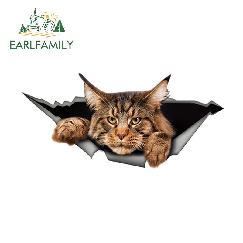 EARLFAMILY 13cm x 6.1cm Maine Coon Adesivo Auto Strappato Metallo Della Decalcomania Adesivo Riflettente 3D Divertente Big Cat Decalcomania car Styling Impermeabile