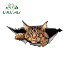 EARLFAMILY 13cm x 6.1cm Maine Coon Car Sticker Torn Metal Decal Reflective Sticker 3D Funny Big Cat Decal Car Styling Waterproof