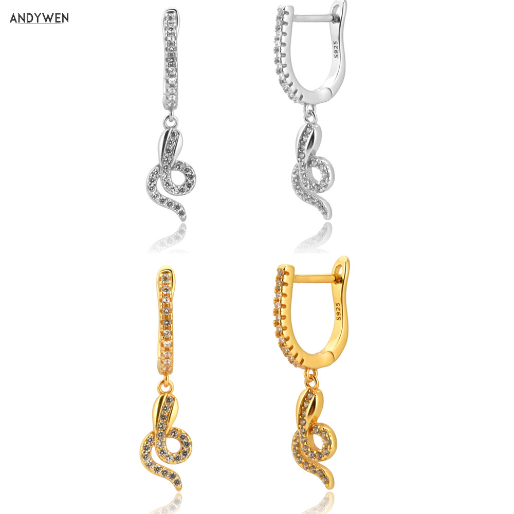 ANDYWEN 100% 925 Sterling Silver Crystal CZ Snake Pave Zircon Ovals Drop Earring Gold Loops Women Pendientes Party Thick Jewelry