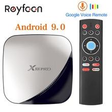 X88プロアンドロイド9.0スマートtvボックス4グラム64グラムなrockchip RK3318オクタコア5 3g wifi 4 18k hdセットトップボックスgoogleのメディアyoutube X88PRO