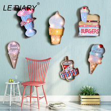 LEDIARY Cafe Beer Bar Bowling Retor Decor Wall Lamp Big Sconce Lighting Iron Art Route 66 Ice Cream Remote Control Wall Light