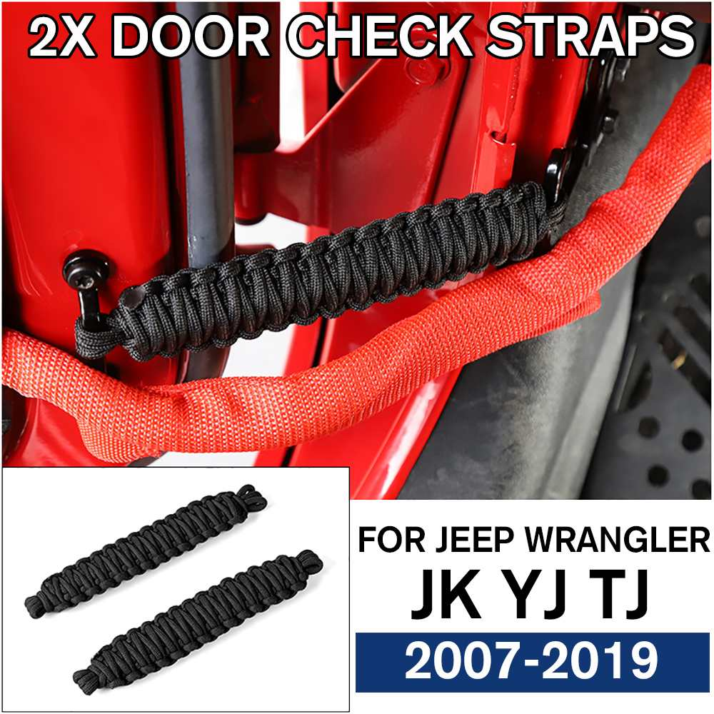 Black Polyester Door Limiting Straps Heavy Duty Strap for Jeep Wrangler JK YJ TJ