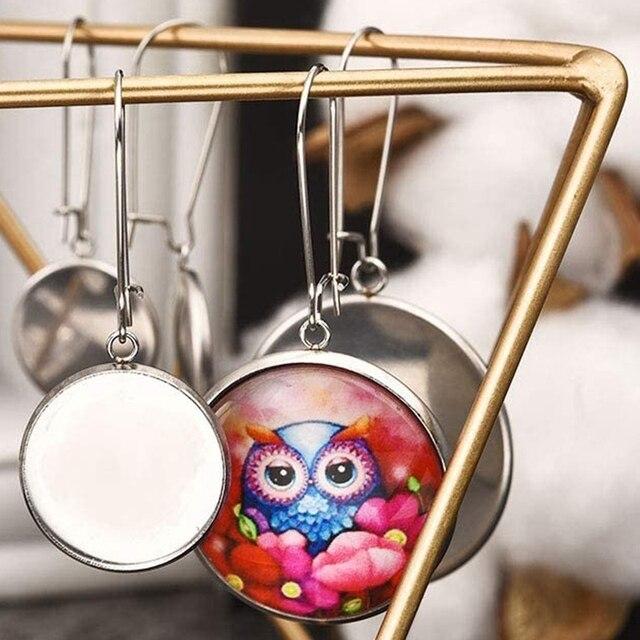 Ébauches oreille fil crochets paramètres 30mm lunette plateaux réglage ajustement 30mm Cabochon bricolage boucle doreille fabrication de bijoux artisanat 30 pièces
