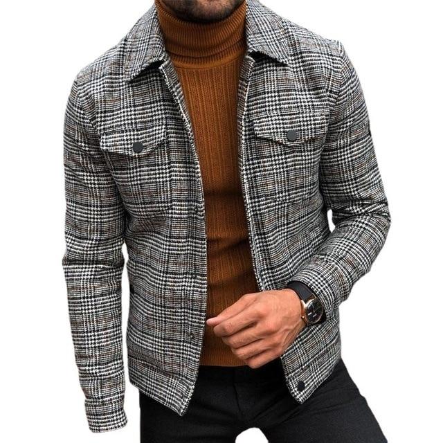 New Spring Men's Slim  Jacket Lapel Fashion Long Sleeve Plaid Coat Man Jacket  Leisure Coat 2