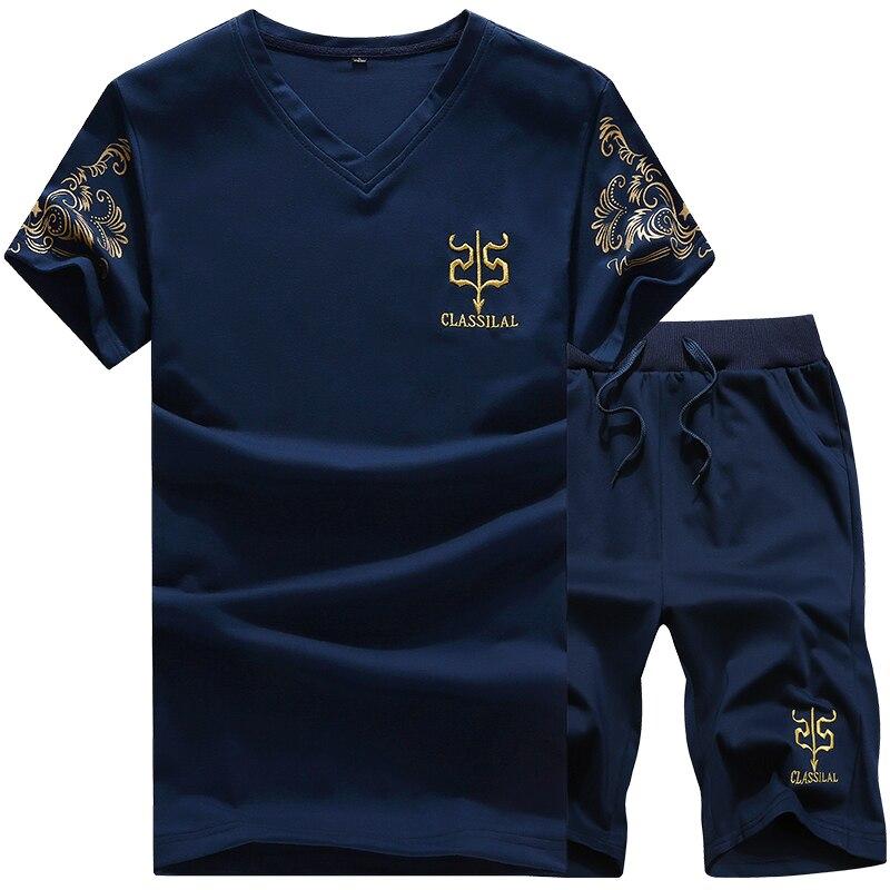 Summer New Men's V-neck Embroidery T-shirt Set Boutique Solid Color Casual Shorts Suit Large Size Fashion Casual Sports Suit Men
