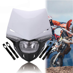 Image 4 - Universal S2 12V 35W Universal Motorcycle Headlight Head Lamp Led Lights and Windshield For Dirt Pit Bike ATV