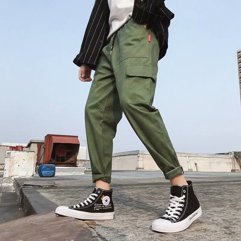 2018 Autumn New Products Men Solid Color Casual Pants Youth Korean-style Multi-pockets Workwear Small Feet Long Pants Male STUDE