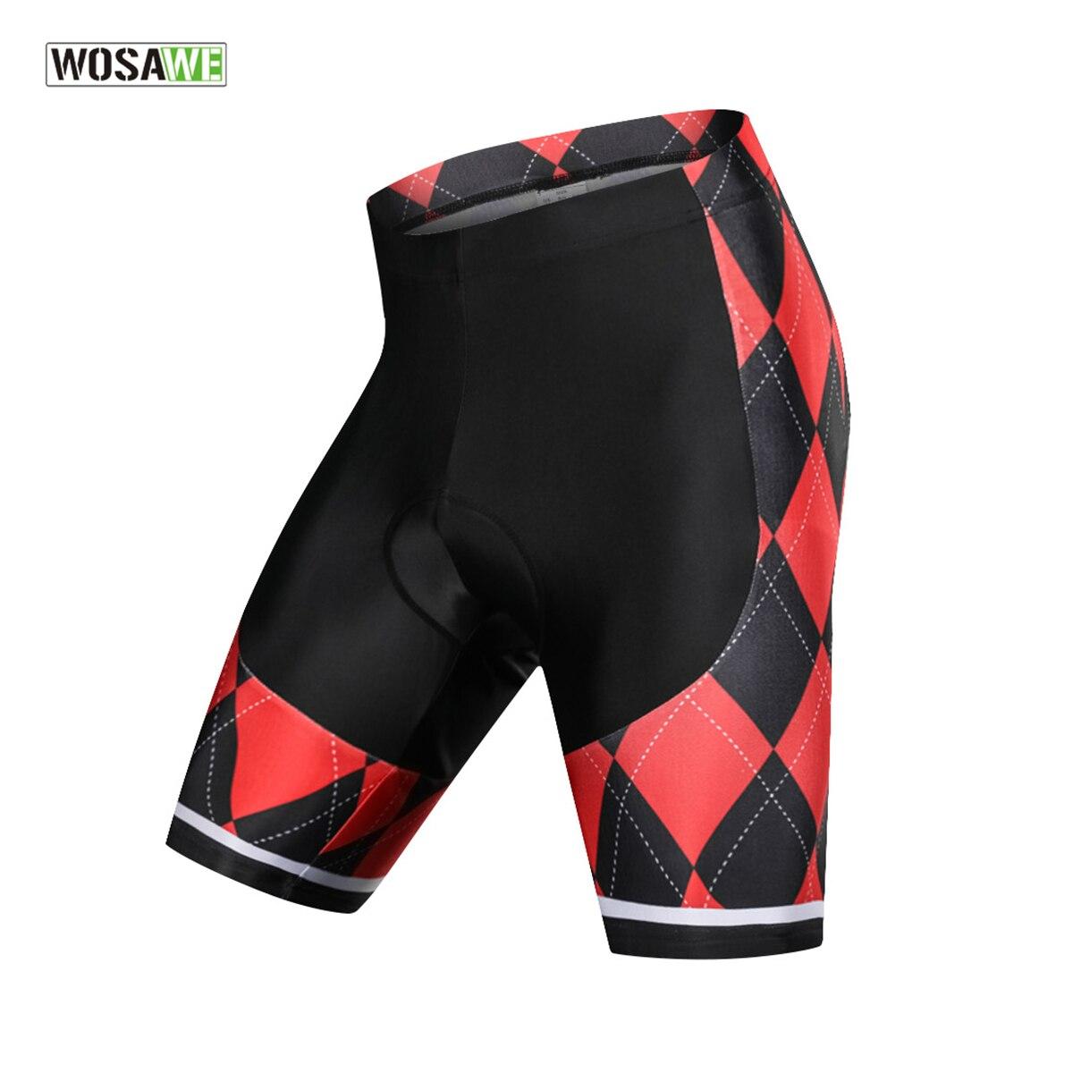 WOSAWE Gel Padded Anti Slip Cycling Shorts Men Downhill MTB Road Bike Shorts Red Bicycle Bermuda Ciclismo Ropa Ciclismo Tights