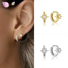 925 Sterling Silver hoop earrings for Women Simple Geometry Zircon Crystal Small Hoop Earrings Fashion Jewelry 2020
