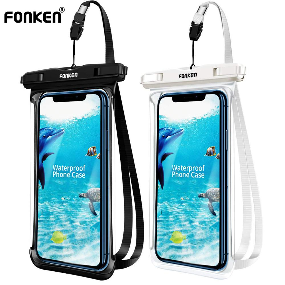 FONKEN IPX8 Full View Waterproof Case Rainforest Desert Snow Transparent Dry Bag Seaside Swimming Pouch Mobile Phone Covers