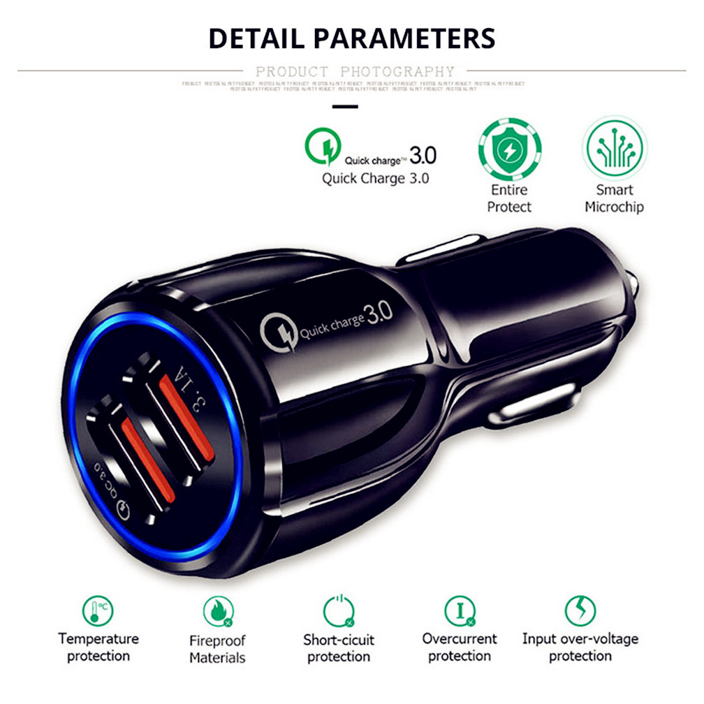 Quick 3.0 Car Charger Socket Adapter Dual <font><b>USB</b></font> <font><b>Port</b></font> for Volkswagen <font><b>VW</b></font> POLO <font><b>Golf</b></font> 4 <font><b>Golf</b></font> <font><b>6</b></font> <font><b>Golf</b></font> 7 CC Tiguan Passat B5 image