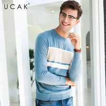 UCAK Brand Sweater Men Casual O-Neck Pull Homme Pullover Men Clothes Autumn Winter Cotton Sweaters Knitwear Jersey Hombre U1001