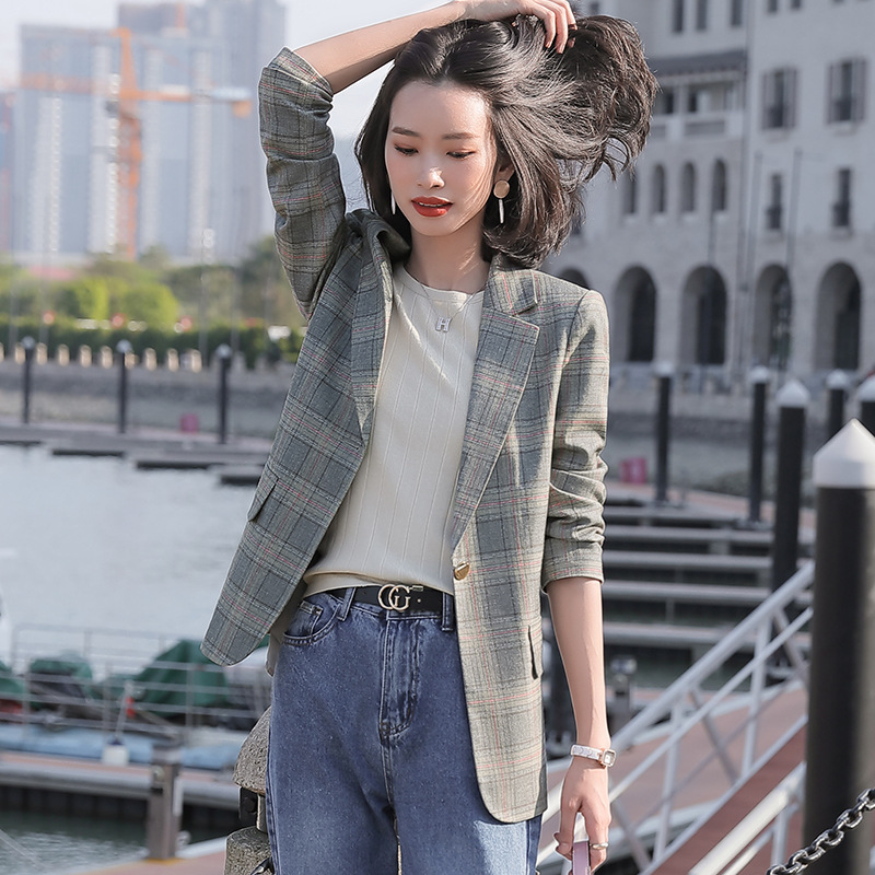 Fashion women's office blazer 2020 Casual High Quality Fabric Long Sleeve Ladies Suit Temperament Plaid Small Suit Feminine