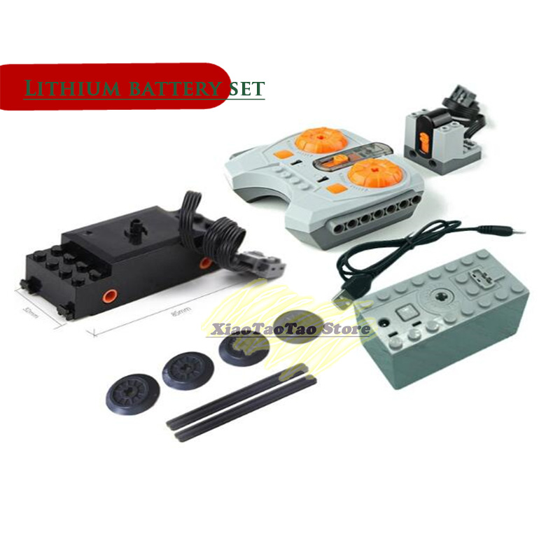 Lithium battery case set Motor technic train Remote Receiver LED Light Battery Box Power Functions <font><b>20001</b></font> 3368 Technic 20053 image