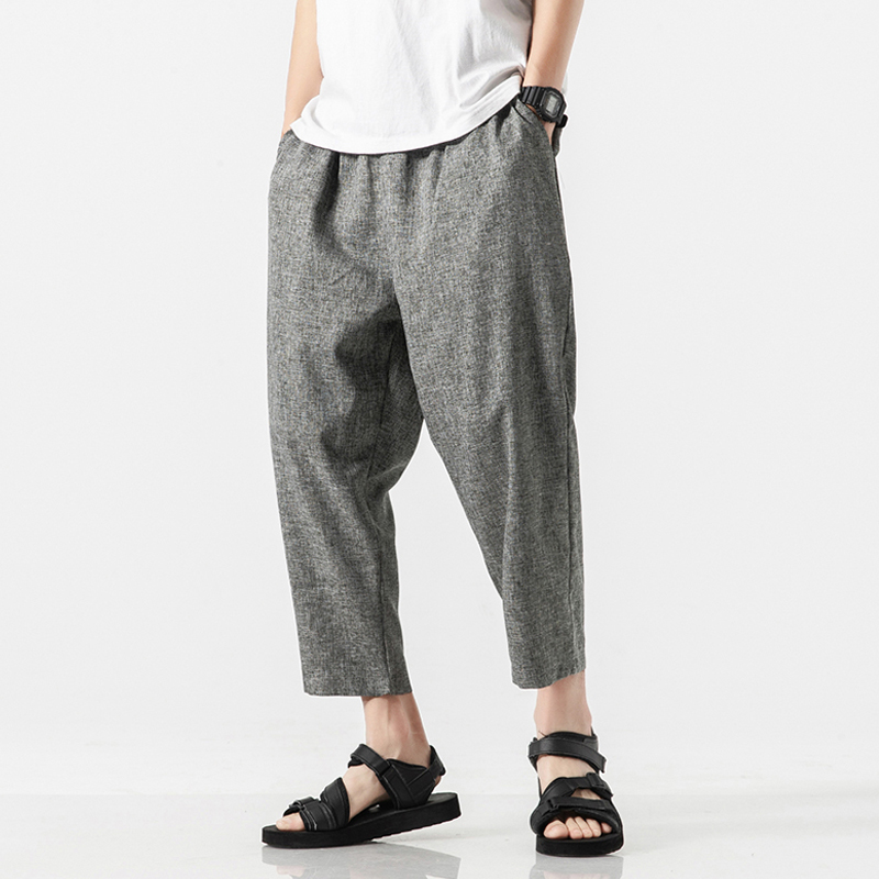 Men Oversize Wide Leg Pants 2020 Mens Straight Casual Ankle-Length Pants Chinese Style Summer Male Harem Pants