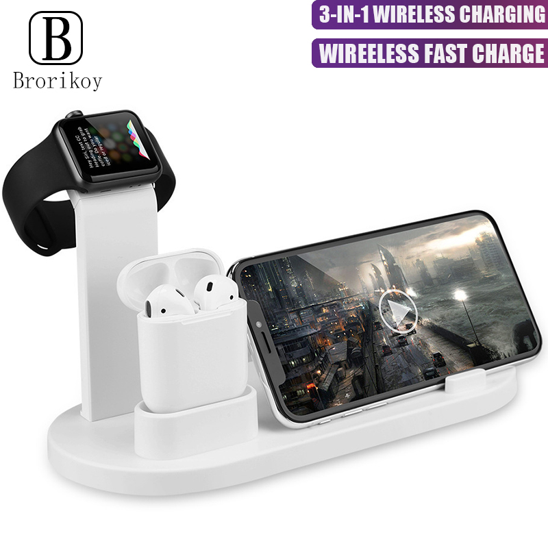 Wireless Charger 3 in 1 Phone Watch Bracket For Apple iPhone Xs Max iWatch 4 3 2 1 Airpods Fast Wireless Charging Type-C Station