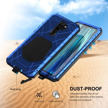 For Xiaomi Mi Redmi Note 8 Phone Case Hard Aluminum Metal Tempered Glass Screen Protector Heavy Duty Cover for Redmi Note 8 Pro 6