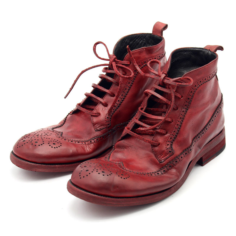 Italy Handmade Cow Genuine Leather Male Ankle Boots Lace Up Wing Tip Brogue Heel Work Satety Shoes Men Motorcycle Boots Punk Red