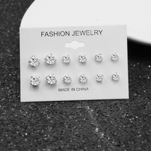 цена на E0239 Fashion Jewelry Shining Crystal Stud Earrings For Women Lots of Earrings Jewelry 6 Pair/Set Exqusite Wedding Jewelry Gifts