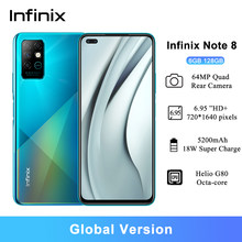 Versão global infinix nota 8 telefones celulares 6.95 hd hd hd + helio g80 octa-núcleo 5200 mah 6gb ram 128gb rom 5200 mah bateria smartphone