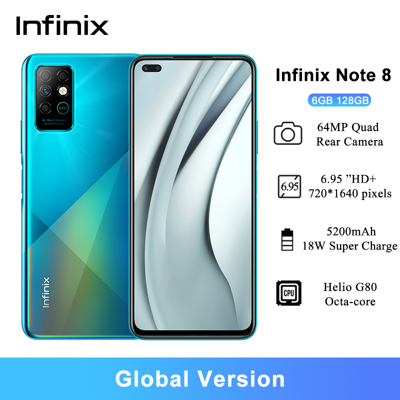 Смартфон глобальная версия Infinix Note 8, 6,95 дюйма, HD + Helio G80, 5200 мА · ч, 6 + 128 ГБ, аккумулятор 5200 мА · ч
