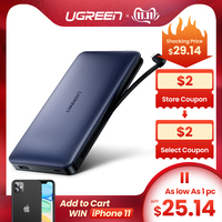 Ugreen Power Bank 20000mAh For iPhone X 7 Samsung S9 For USB iPhone Cable Powerbank Portable Charger External Battery Pover Bank