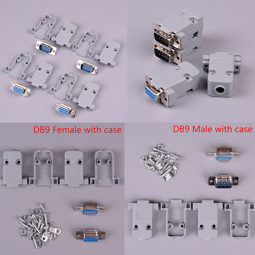 2sets 9 Pin Copper RS232 COM Adapter With Plastic Case RS232 Serial Port Connector DB9 Female Male Socket Plug Connector