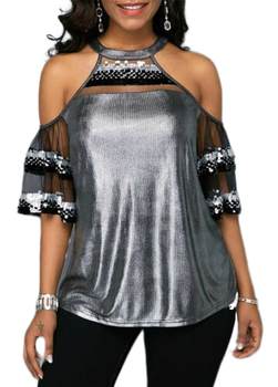 2019 Women Sexy Off Shoulder Sequins T-Shirt Summer Holiday Ladies Loose Short Sleeve Bling Casual T Shirt Tops grey slit design off the shoulder t shirt