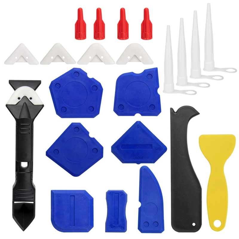 23 Pieces Caulking Tool Kit, 3 In 1 Caulking Tools Silicone Sealant Finishing Tool Grout Scraper Caulk Remover And Caulk Nozzle