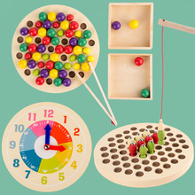 Kids Montessori Wooden Toys Hands Brain Training Clip Beads Time Cognition Puzzle Board Math Game Baby Early Educational Toys montessori early childhood learning educationa toys wooden gift kids color cognition puzzles math toys for baby