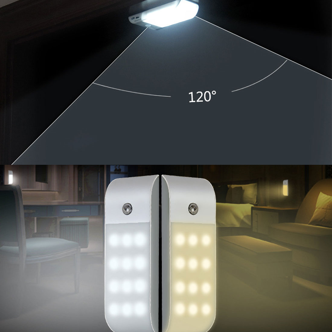 LED USB PIR Infrared Motion Sensor USB Rechargeable 12 LED Nightlight Light Induction Corridor Closet Wardrobe Night Lamp