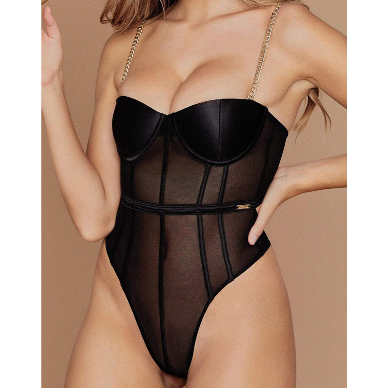Club Wear Black Mesh Transparent Teddy Bodysuit Metal Chain Straps Backless Push Up Chest Bodysuits Sexy Bodycon Jumpsuit Party