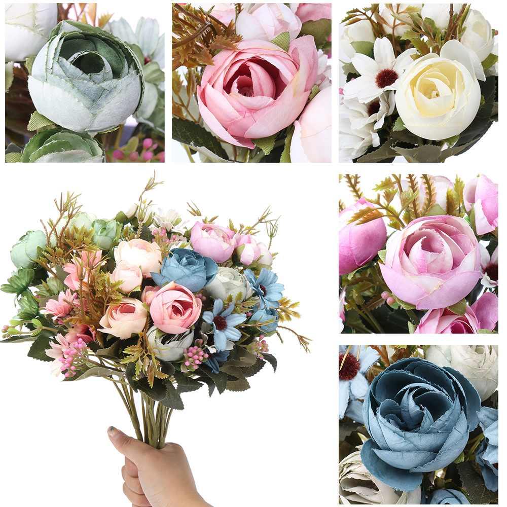 Hot Artificial Silk Fake Flowers Floral Wedding Bouquet Bridal