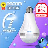 ESCAM QP136 360 Grad Panorama Birne Kamera HD WiFi IP Kamera mit Motion Erkennung, Zwei-weg Audio, 3 stücke Weiß Lichter
