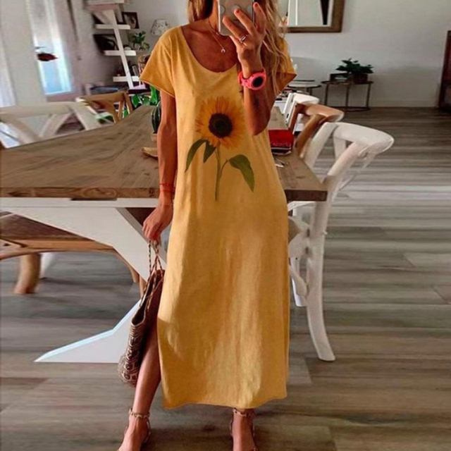 Vintage Butterfly Daisy Print Summer Dress 30