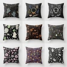 Pillowcase 45 * 45CM Halloween cartoon pattern printed pillowcase Home sofa pillow cushion cover decorative pillowcase fuwatacchi home decor cartoon cushion cover cute stick figure couple image pillow cover for car sofa pillowcase 45cm 45cm