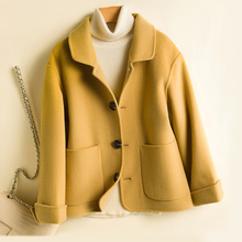 New Double-faced Wool Blends Coat Women Autumn and Winter 2019 100% Wool Fashion Turn-down collar Short Slim Wool Outerwear гарнитура проводная defender warhead g 190