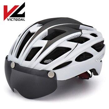 Victgoal capacete de bicicleta mountain bike, capacete de luz para ciclismo moldado integralmente à prova de vento com óculos de proteção 1